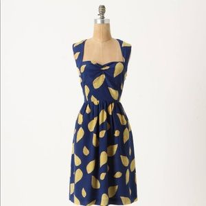 Anthropologie Maple Blue and Yellow Dress